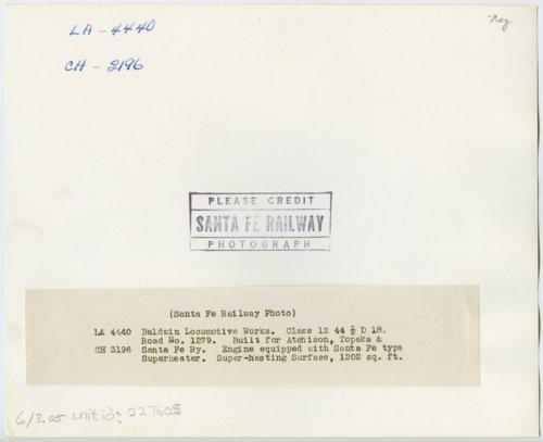 Atchison, Topeka & Santa Fe Railway Company's steam locomotive #1279 - Page