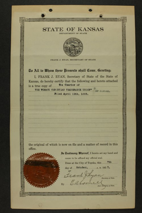 Kansas Woman's Christian Temperance Union permanent records - Page