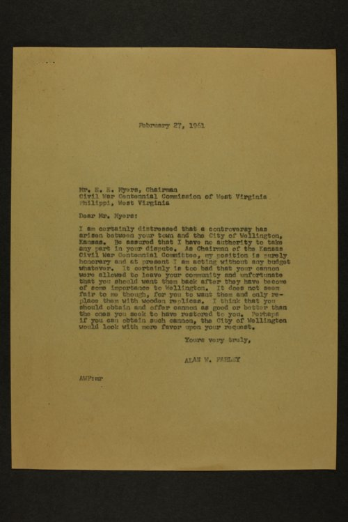 Kansas Civil War Centennial correspondence - Page