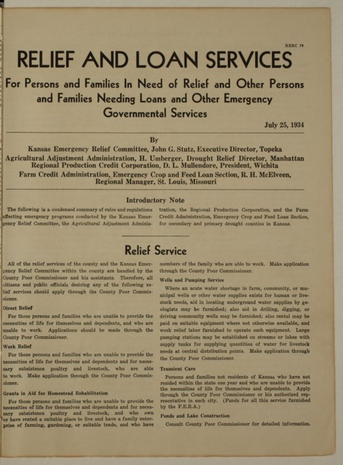 Kansas Emergency Relief Committee, bulletin 78 - Page