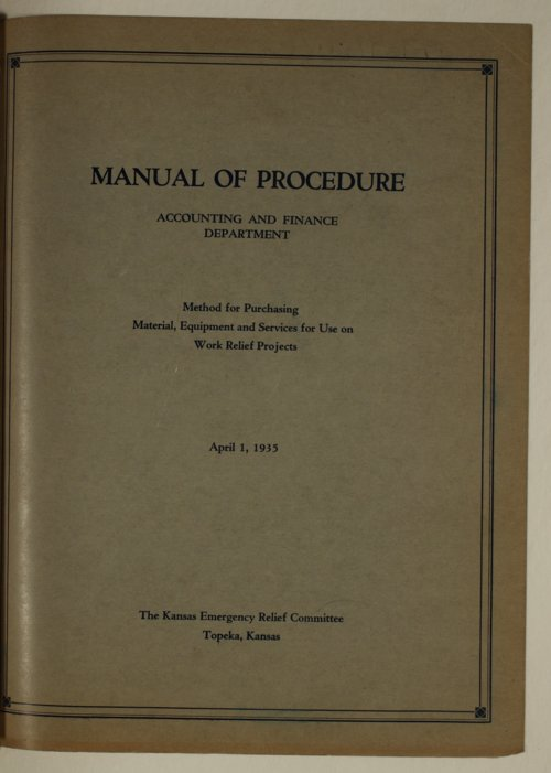 Manual of procedure, accounting and finance department - Page