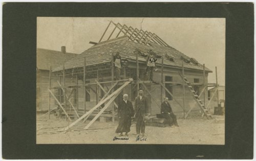 Unidentified house under construction in Sublette, Kansas - Page