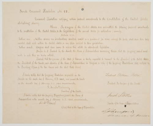 Senate Concurrent Resolution no. 42 ratifying the Thirteenth Amendment to the U. S. Constitution abolishing slavery - Page