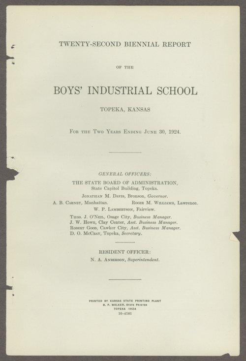 Biennial report of the Boys Industrial School, 1924 - Page