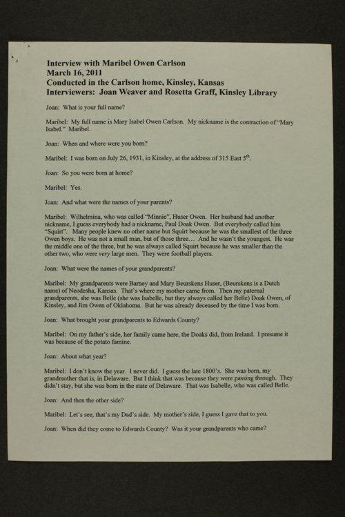 Maribel Carlson interview, Kinsley, Kansas - Page
