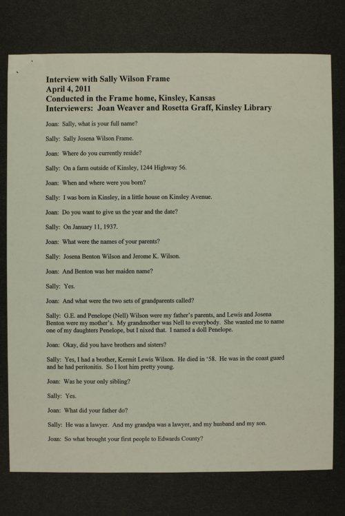 Sally Frame interview, Kinsley, Kansas - Page
