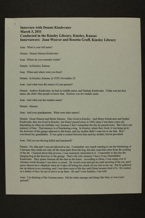 Dennis Kindsvator interview, Kinsley, Kansas - Page