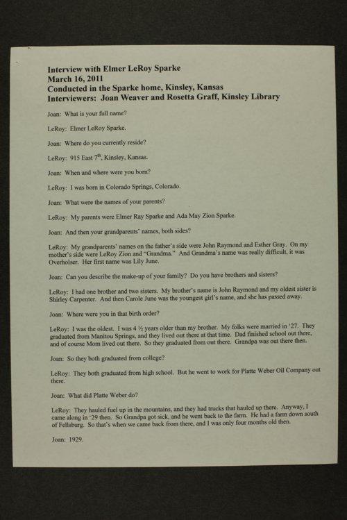 Elmer LeRoy Sparke interview, Kinsley, Kansas - Page