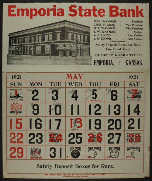 School paper and calendar belonging to Mary White - Page