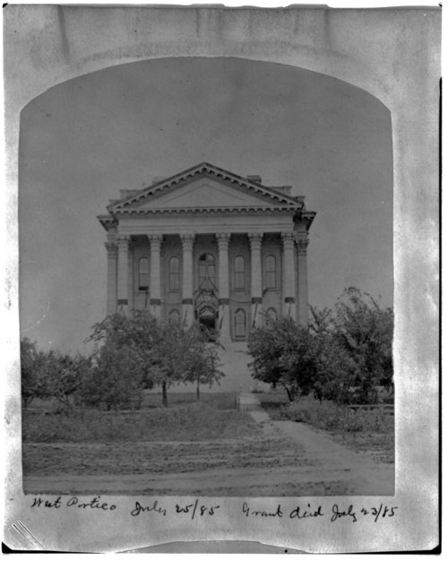West portico of the Kansas capitol draped in black after Ulysses S. Grant's death - Page