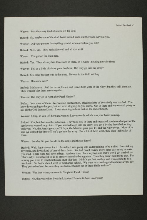 Buford Brodbeck interview, WWII oral history, Kinsley, Kansas - Page
