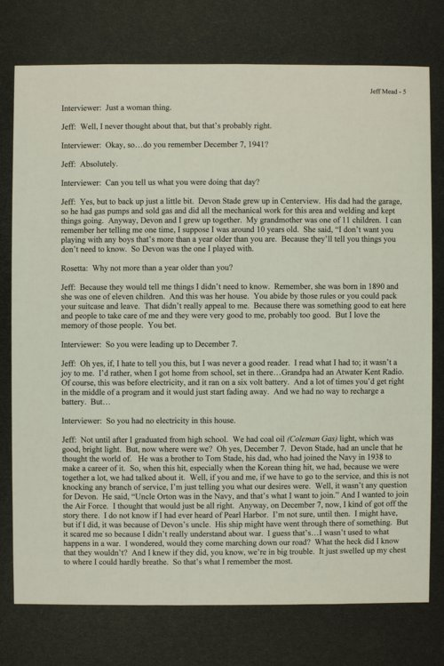 Jeffries Mead interview, WWII oral history, Lewis, Kansas - Page