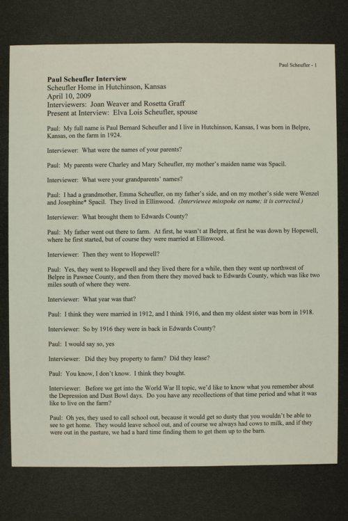 Paul Scheufler interview, WWII oral history, Hutchinson, Kansas - Page