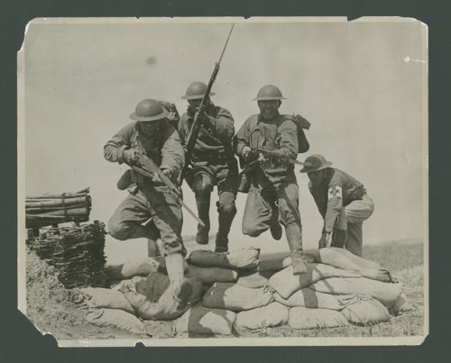 Recruits in combat training at Camp Funston, Kansas - Page