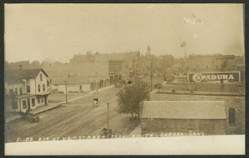 Birds Eye (view) of Main Street From South, Eureka, Kansas - Page