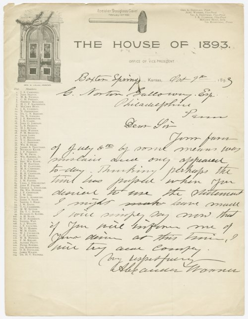 Alexander Warner to G. Norton Galloway - Page