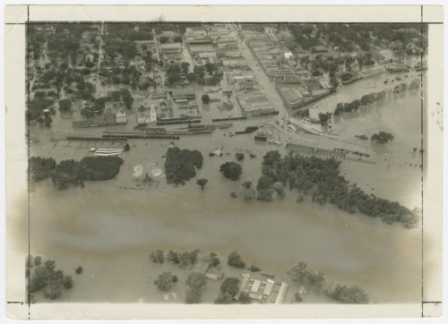Aerial view of flood waters in Manhattan, Kansas - Page