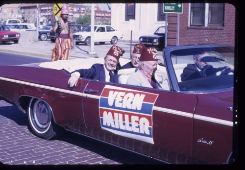 Vern Miller campaigning for Kansas Attorney General, Dodge City, Kansas