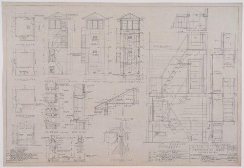 Drawing of Atchison, Topeka & Santa Fe Railway's interlocking tower at San Bernardino, California - Page