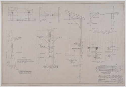 Drawing of Atchison, Topeka & Santa Fe Railway's scaffolding for the car repair department at San Bernardino, California - Page