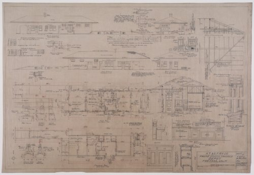 Drawing of Atchison, Topeka & Santa Fe Railway's depot in Fontana, California - Page