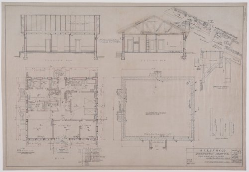 Drawings of Atchison, Topeka & Santa Fe Railway's emergency hospital for shop employees at San Bernardino, California - Page