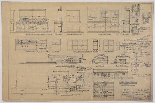 Drawing of Atchison, Topeka & Santa Fe Railway's remodeled station at Rialto, California - Page
