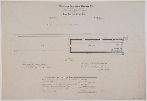 Drawing of Southern California Railway Company's proposed store house at San Bernardino, California - Page