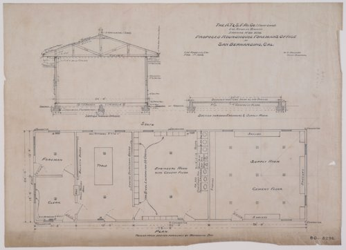 Drawing of Atchison, Topeka & Santa Fe Railway's proposed roundhouse foremen's office at San Bernardino, California - Page