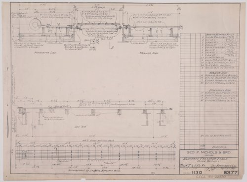 Drawing of Atchison, Topeka & Santa Fe Railway's electronic transfer table floor details for the shops in San Bernardino, California - Page
