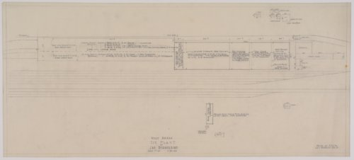 Drawing of the roof areas of Atchison, Topeka & Santa Fe Railway's ice plant at San Bernardino, California - Page