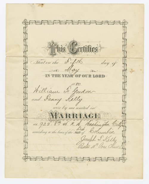 Marriage certificate for William F. Gordon and Fanny Kelly - Page