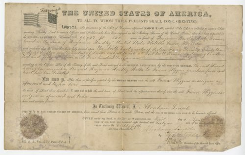 Land patent transferring property from Benjamin Hendley Miller to Fannie [Fanny] Wiggins - Page