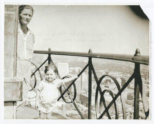 Virga and Virginia McKinley on the Kansas capitol dome in Topeka, Kansas - Page