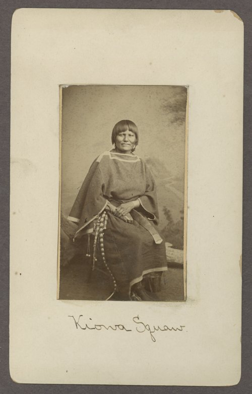 A Kiowa woman pictured during the 1870s at Fort Sill.