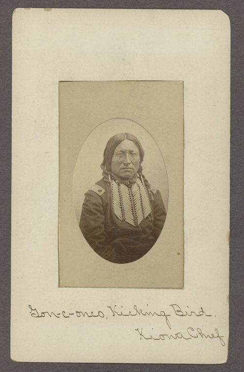 Kicking Bird was a Kiowa chief who converted to Christianity in the 1870s. He was a political rival of Sitting Bear, another Kiowa chief. Kicking Bird and his followers? descendants provided the roots of progressive Kiowa politics. Sitting Bear and his followers? descendant form a significant portion of conservatives in the tribe.