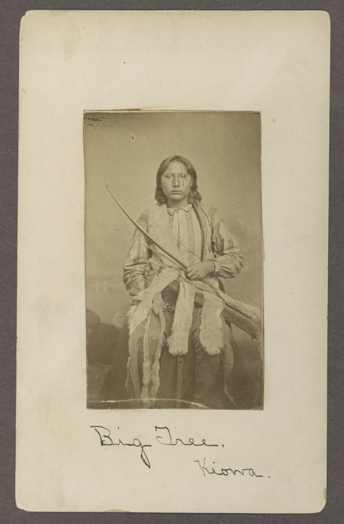 Big Tree, Kiowa chief, pictured between 1869 and 1875 at Fort Sill
