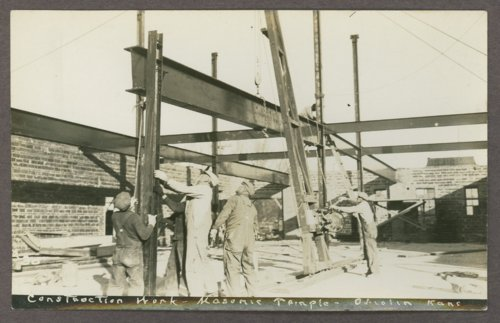 Construction on the Masonic Temple in Oberlin, Kansas - Page