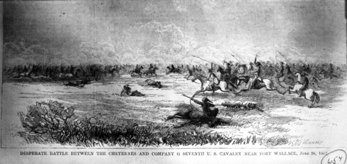 Desperate battle between the Cheyenne and Company G of the U. S. Cavalry near Fort Wallace - Page