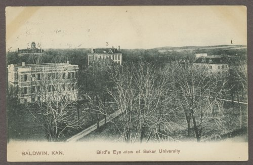 Postcard, Baker University, Baldwin City, Kansas
