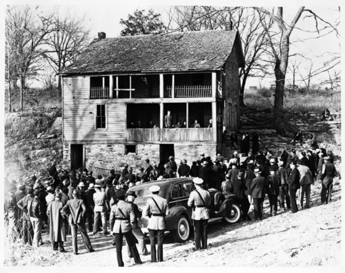 Governor Payne Ratner at the Marais des Cygnes Massacre site, Linn County, Kansas - Page