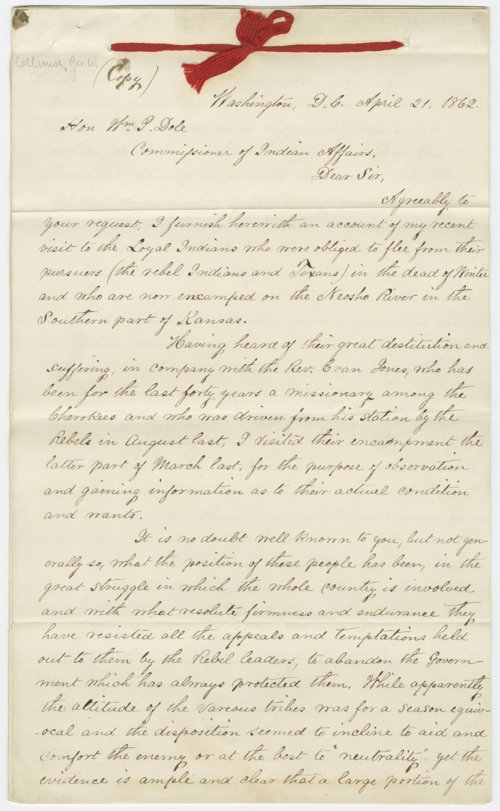 George W. Collamore to Honorable William P. Dole - Page