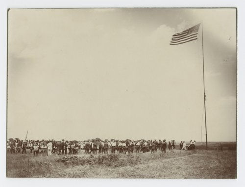 Placing marker on the hill, Pawnee Village site, Republic County - Page