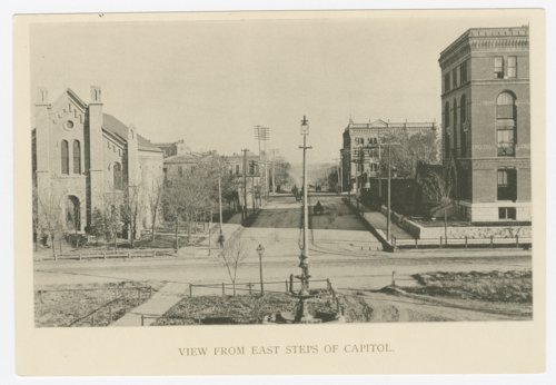 View looking east from the steps of the Kansas capitol in Topeka, Kansas - Page
