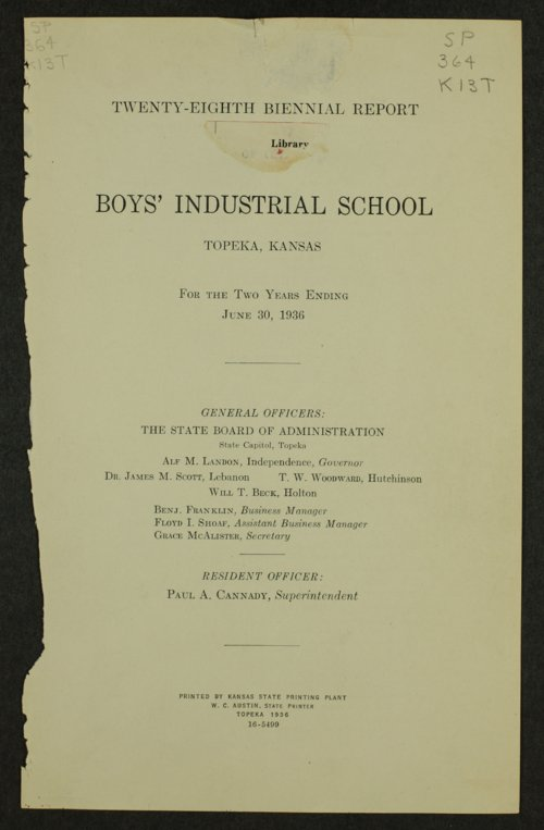 Biennial report of the Boys Industrial School, 1936 - Page