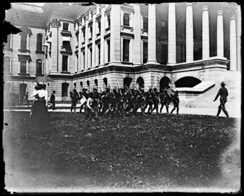 Soldiers marching at the Kansas capitol in Topeka, Kansas - Page