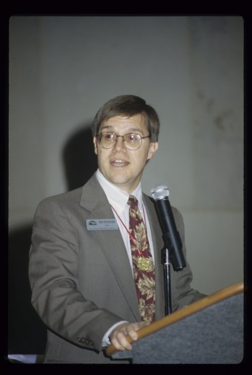 Bob Keckeisen speaking at an exhibit opening at the Kansas State Historical Society - Page