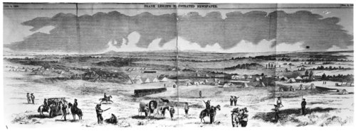 Illustration of U. S. troops guarding Free State prisoners, Lecompton, Kansas - Page