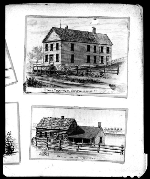 Sketch of Constitution Hall and the Democratic Headquarters in Lecompton, Kansas - Page