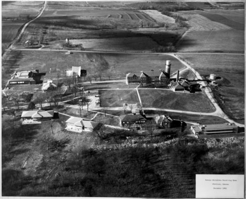 Aerial view of the Kansas State Children's Receiving Home in Atchison, Kansas
